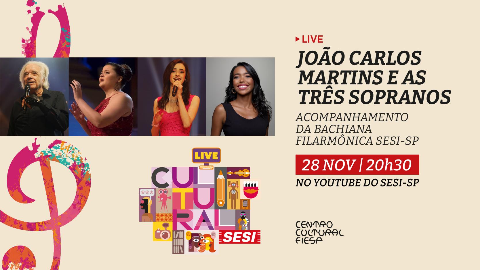 """Com repertório rico, a Bachiana Filarmônica Sesi-SP se apresentará com o tema """"João Carlos Martins e as 3 sopranos"""". Você não pode perder"""