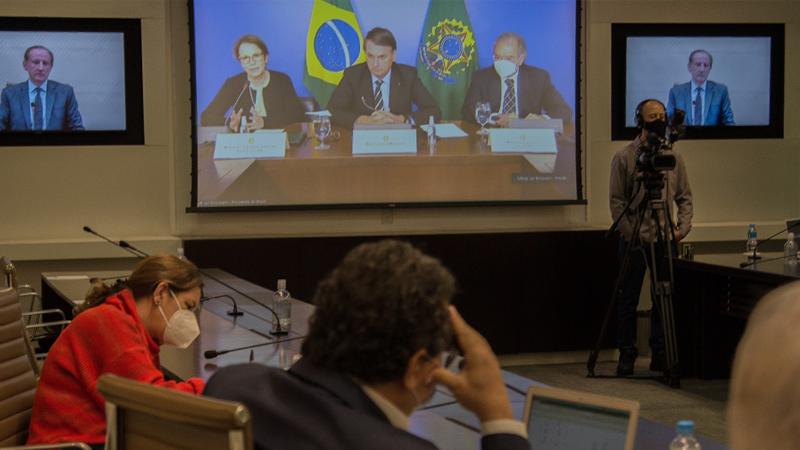 O presidente da República e dez ministros participam de videoconferência com o Conselho Diálogo pelo Brasil, que reúne os 50 maiores grupos privados e é coordenado pelo presidente da Fiesp/Ciesp, Paulo Skaf