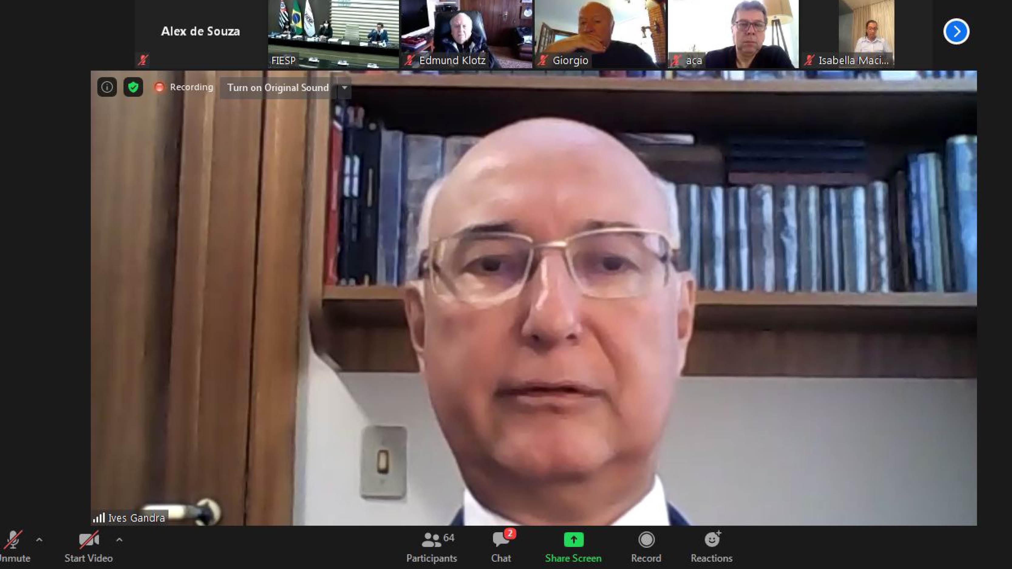 Ives Gandra da Silva Martins Filho participou de videoconferência na Fiesp e avaliou o Direito intertemporal em tempos de pandemia