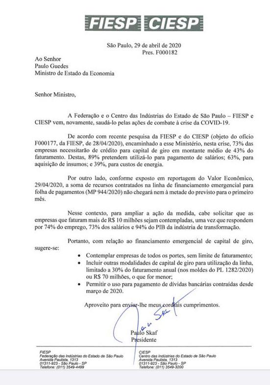 Presidente da Fiesp e do Ciesp, Paulo Skaf, encaminhou ao ministro da Economia, Paulo Guedes, um novo pleito das empresas referente à oferta de crédito durante a pandemia