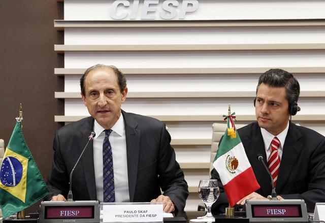 Paulo Skaf e Enrique Peña Nieto durante entrevista coletiva na Fiesp. Foto: Junior Ruiz