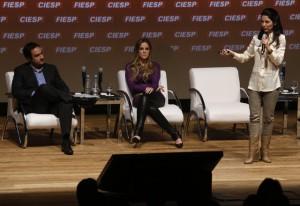 Ana Paula Padrão, Sylvio Gomide e Patrícia Meirelles: inspiração para os jovens empreendedores. Foto: Julia Moraes/Fiesp