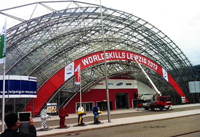 A entrada do local onde vai ser realizado o WorldSkills 2013 em Leipzig, na Alemanha. Foto: José Carlos Dalfré