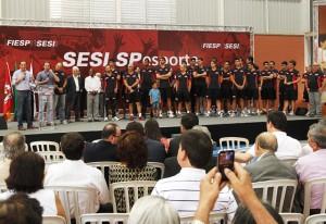 A equipe de vôlei do Sesi-SP também foi destacada na cerimônia. Foto: Ayrton Vignola/Fiesp