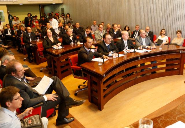Carlos Eduardo Pedrosa Auricchio e Eduardo Rodrigues Machado Luz na reunião desta quinta-feira (22/08). Foto: Everton Amaro/Fiesp