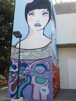 Grafite feito na escola A.E Carvalho, do Sesi-SP, e que ficará no local até outubro de 2015. Foto: Divulgação
