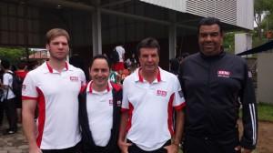 Da esquerda para a direita: Gambaini, Marques, Coelho e Zanolla na missão de despertar talentos para o esporte. Foto: Isabela Barros/Fiesp