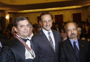 Da esquerda para a direita: Prieto, Skaf e Caldeira na cerimônia de posse nesta segunda-feira (24/02). Foto: Everton Amaro/Fiesp