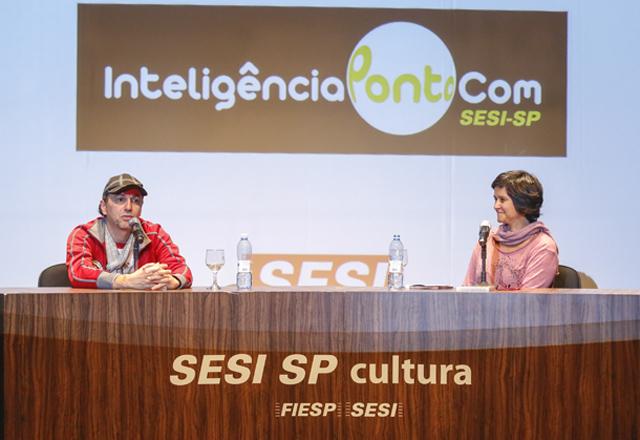 Baleiro e Patricia no InteligênciaPontoCom: parcerias e referências variadas. Foto: Tâmna Waqued/Fiesp