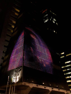 A projeção no prédio da Fiesp e do Sesi-SP: luminosidade. Foto: Divulgação