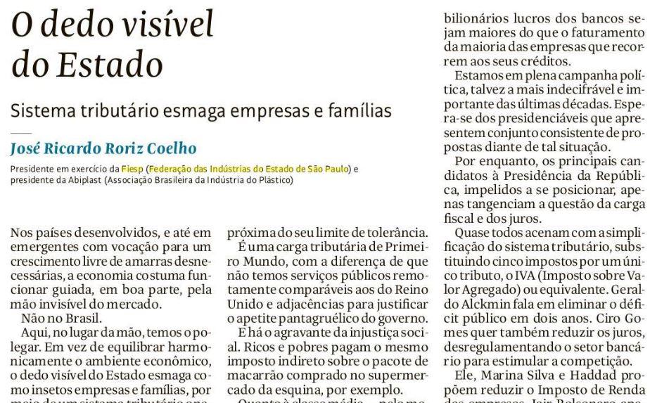 Reprodução de trecho de artigo de José Ricardo Roriz no jornal Folha de S.Paulo